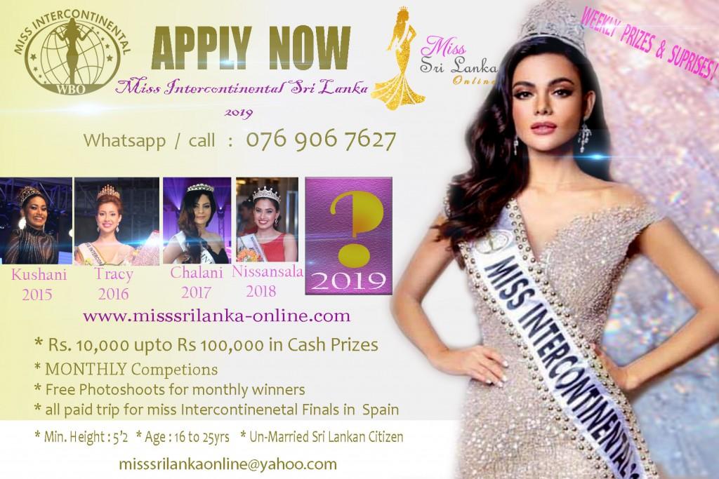 Apply now for AKSHATA Miss Intercontinental Sri Lanka 2019